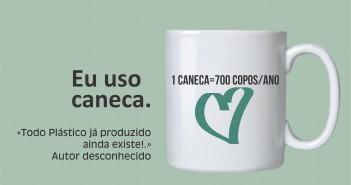 Cartaz da Campanha AGA é Você estimula a adoção de canecas