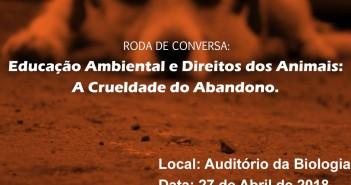 Cartaz divulgando uma roda de conversa sobre abandono de animais